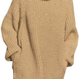 Pink Queen Women's Loose Turtleneck Oversize Long Pullover Sweater Dress   Amazon (US)