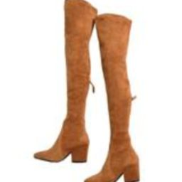 'Marlo' Tan Over The Knee Suede Leather Boots   Goodnight Macaroon