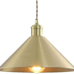 """SUSUO 11.81""""W Pure Golded Contemporary Ceiling Pendant Lighting with Conical Shade in Warm Brass,... 