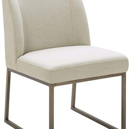 """Amazon Brand – Rivet Contemporary Dining Chair with Brass Metal Base, 34""""H, Chalk 