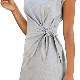 LaSuiveur Women's Casual Bodycon Tie Waist Cap Sleeve Cotton T Shirt Dress | Amazon (US)