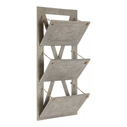 "15"" x 33"" Hardeman 3 Pocket Wood Hanging Wall File Holder Gray - Kate and Laurel | Target"
