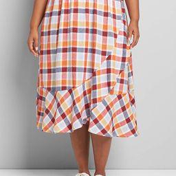Faux-Wrap Ruffle A-Line Skirt | Lane Bryant (US)