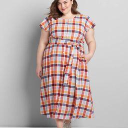 Button-Front Plaid Fit & Flare Dress | Lane Bryant (US)