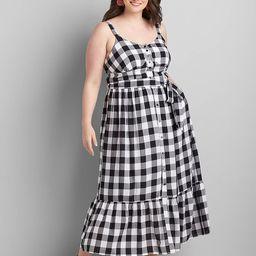 Gingham Button-Front Midi Dress | Lane Bryant (US)
