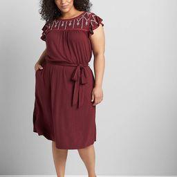 Flutter-Sleeve Embroidered Fit & Flare Dress | Lane Bryant (US)