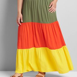 Colorblock Tiered Maxi Skirt | Lane Bryant (US)