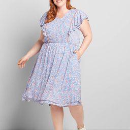 Ruffle-Sleeve Fit & Flare Dress | Lane Bryant (US)