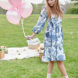 Floral Print Puff Sleeve Ruffle Hem Dress   SHEIN