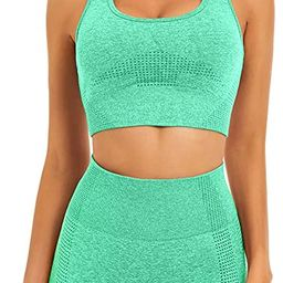 Toplook Women Seamless Yoga Workout Set 2 Piece Outfits Gym Shorts Sports Bra | Amazon (US)