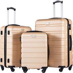 COOLIFE Luggage 3 Piece Set Suitcase Spinner Hardshell Lightweight TSA Lock 4 Piece Set | Amazon (US)
