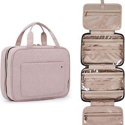 BAGSMART Toiletry Bag Travel Bag with Hanging Hook, Water-resistant Makeup Cosmetic Bag Travel Or... | Amazon (US)