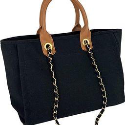 Hidora Women Canvas Satchel Handbag Shoulder Bag Large Totebag With Chain | Amazon (US)