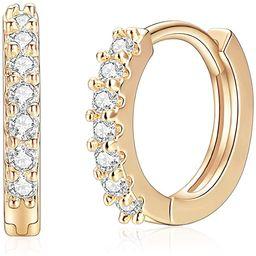 14k Gold/Silver/Rose Gold Plated Huggie Earrings CZ Tiny Small Hoop Earrings Heart Lock Spike Cro... | Amazon (US)