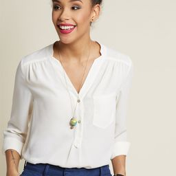 Pam Breeze-ly Long Sleeve Tunic in Ivory | ModCloth