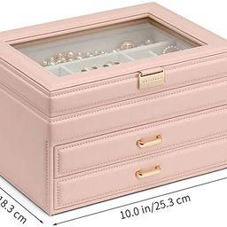 Vlando Jewelry Box Large-Capacity Jewelry Storage Box, Mirror Jewelry Storage Box, Girl/Woman Ear... | Amazon (US)