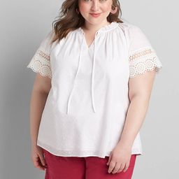 Ruffle-Neck Embroidered Peasant Top | Lane Bryant (US)