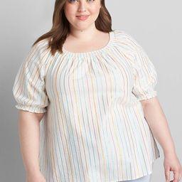 Metallic-Stripe Puff-Sleeve Shirred Top | Lane Bryant (US)