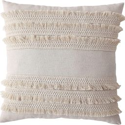 Morgan Home Decorative Fringe Throw Pillow Cushions Cover for Sofa Couch or Bed - 18 x 18 inches,... | Amazon (US)