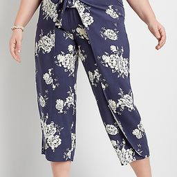 Plus Size Navy Floral Flyaway Pant | Maurices
