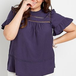 Plus Size Navy Crochet Ruffle Sleeve Top | Maurices