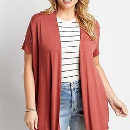 Plus Size Solid Short Sleeve Open Front Cardigan | Maurices