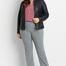 Plus Size High Rise Gray Bengaline Stacked Waist Bootcut Pant | Maurices