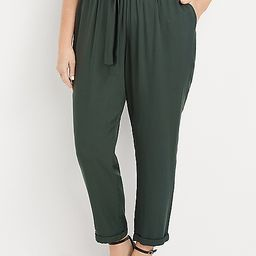 Plus Size High Rise Green Tie Waist Ankle Pant | Maurices