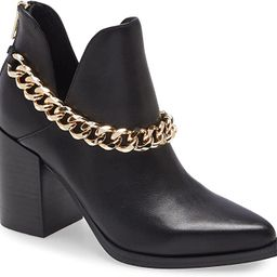 Womens Cut Out Ankle Boots Gold Chain Chunky Heel Back Zipper Almond Toe Western Booties | Amazon (US)
