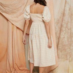 SHEIN Gingham Puff Sleeve Dress   SHEIN