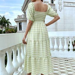 Puff Sleeve Gingham A-line Dress   SHEIN