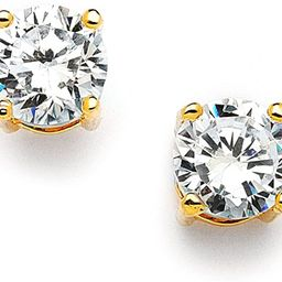 Mariell 2 Ct. Cubic Zirconia Stud Earrings -14K Gold Plated 8mm Round Cut CZ Simulated Diamond St... | Amazon (US)