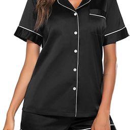 Ekouaer Satin Pajamas Women's Silk Soft Sleepwear Short Sleeve Button Down Loungewear Pjs Shorts ... | Amazon (CA)