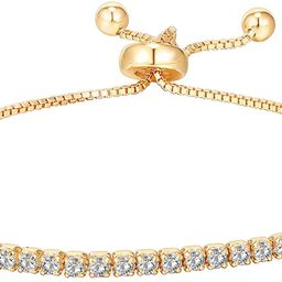 PAVOI 14K Gold Plated Cubic Zirconia Classic Tennis Bracelet for Women | Adjustable Slider | Amazon (US)
