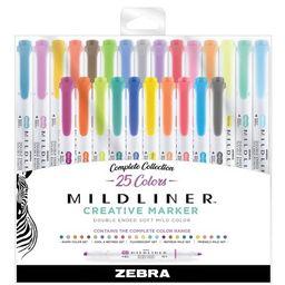 25ct Highlighters Mildliner Double Ended Standard Colors- Zebra | Target