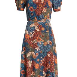 Floral Puff Sleeve A-Line Midi Dress | Nordstrom | Nordstrom