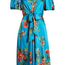 Floral Tie Waist A-Line Midi Dress   Nordstrom   Nordstrom