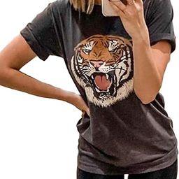 Tiger Printed Short Sleeve Tshirts,Womens Summer Crewneck Graphic Tee Shirt Blouse Tops | Amazon (US)