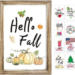 Farmhouse Wall Decor Sign With 8 Interchangeable Seasonal Sayings For holiday/Home Decor signs-su... | Amazon (US)