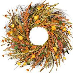 Wofair 22 Inch Fall Wreath Front Door Wreath Grain Wreath Harvest Gold Wheat Ears Circle Garland ... | Amazon (US)