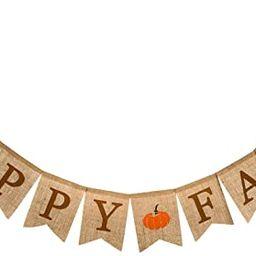 Whaline Happy Fall Pumpkin Burlap Banner Harvest Home Decor Bunting Flag Garland Party Thanksgivi... | Amazon (US)