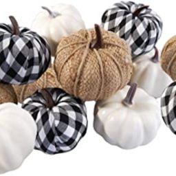 Ticlooc 12pcs Mixed Artificial Pumpkins Fake Harvest Pumpkins for Fall Wedding Thanksgiving Hallo... | Amazon (US)