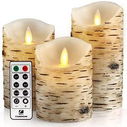 """Comenzar Flickering Candles, Candles Birch Set of 4 5"""" 6"""" Birch Bark Battery Candles Real Wax Pil... 