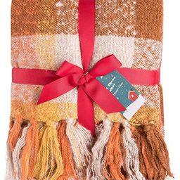 G Lake Orange Plaid Blanket Throw Acrylic Soft Reversible Dyed Fringed Bed Blanket for Christmas ... | Amazon (US)