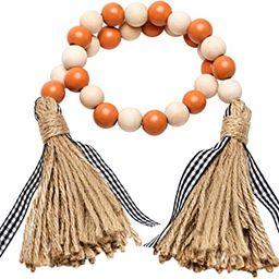 Halloween Wood Bead Tassel Garland Fall Farmhouse Rustic Bead with Jute Rope Plaid Tassel Tray De... | Amazon (US)
