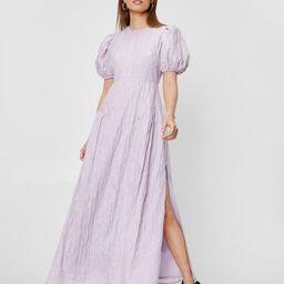 Petite Puff Sleeve Slit Maxi Dress | NastyGal