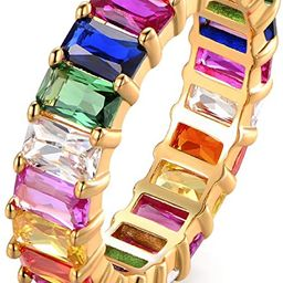 Eternity Rainbow Ring Wedding Band for Women | 18K Gold Plated Emerald-Cut Rainbow Multi Color Cr... | Amazon (US)
