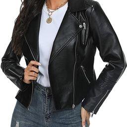 Fahsyee Women's Leather Jackets, Faux Motorcycle Plus Size Moto Biker Coat Short Lightweight Vega...   Amazon (US)