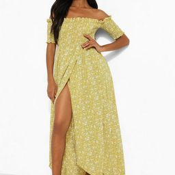 Petite Ditsy Shirred Wrap Front Maxi Dress | Boohoo.com (US & CA)