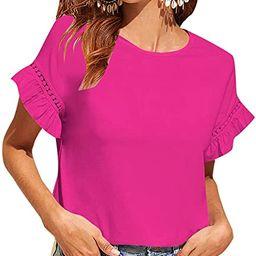 Floerns Women's Casual Summer Ruffle Short Sleeve Tops Blouse T-Shirt   Amazon (US)